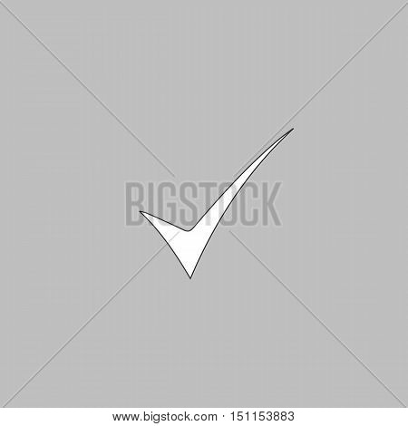 confirm Simple line vector button. Thin line illustration icon. White outline symbol on grey background