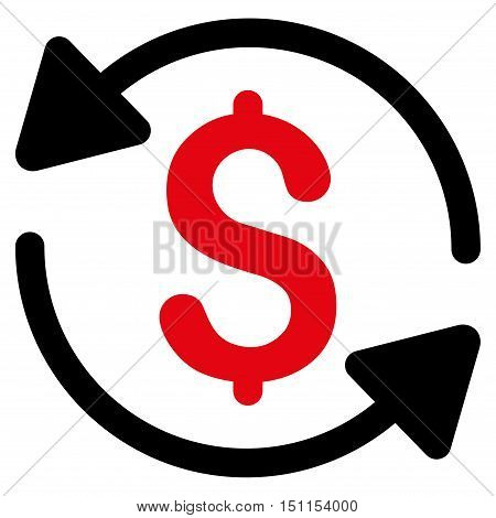 Money Turnover icon. Glyph style is bicolor flat iconic symbol with rounded angles, intensive red and black colors, white background.