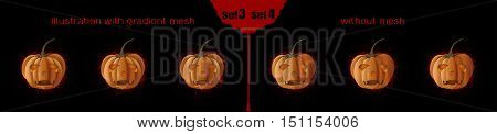 Jack o Lantern (Jack-o'-lantern) icons set 2. Halloween design. Pumpkins with different facial expressions. Vector illustration