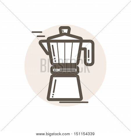 Vector icon of moka pot. Icon is in simple lineart style without coloring. Symbol on brown circular background.
