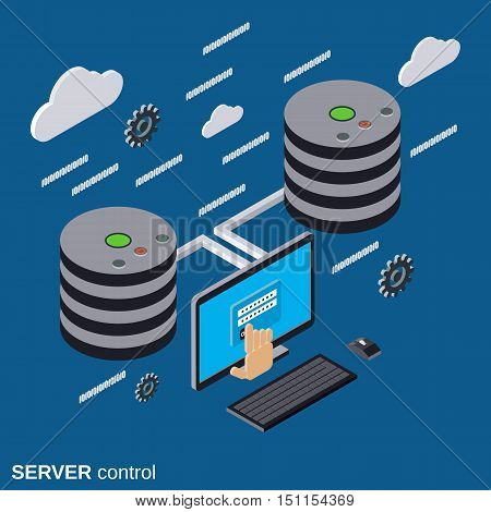 Server control, network security, data protection flat isometric vector concept illustration