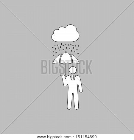 Rainy Simple line vector button. Thin line illustration icon. White outline symbol on grey background