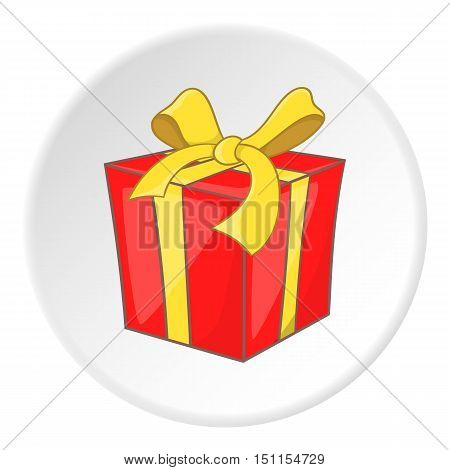 Red gift box with yellow ribbon icon. cartoon illustration of gift box with ribbon vector icon for web