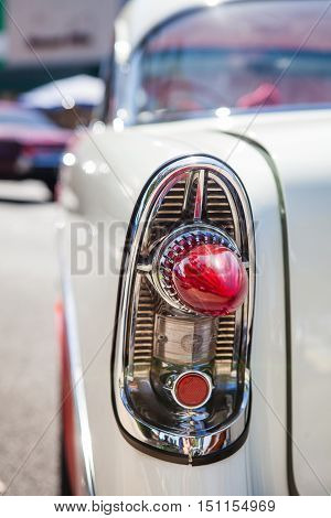 Close-up photo of retro car headlights. Old vintage car