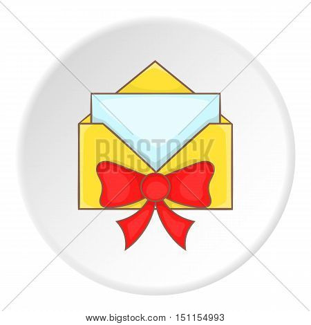 Card in yellow envelope with bow icon. cartoon illustration of card in yellow envelope vector icon for web