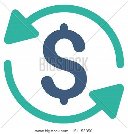 Money Turnover icon. Glyph style is bicolor flat iconic symbol with rounded angles, cobalt and cyan colors, white background.