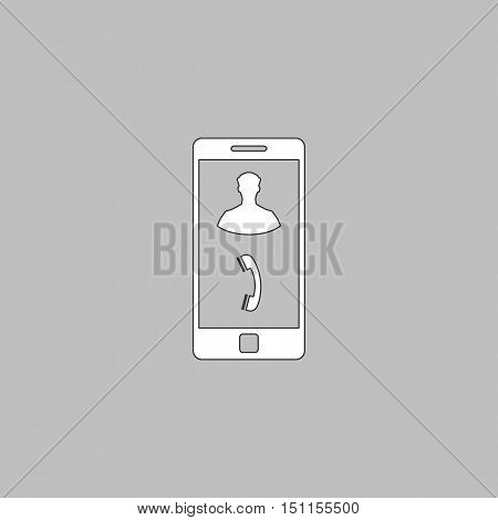 incoming call Simple line vector button. Thin line illustration icon. White outline symbol on grey background