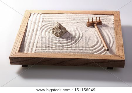 Mini zen garden japanese home decoration in studio