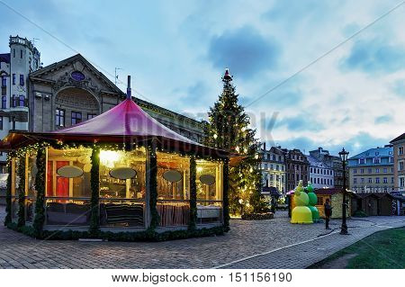 Christmas Pavilion At The Christmas Market In Old Riga