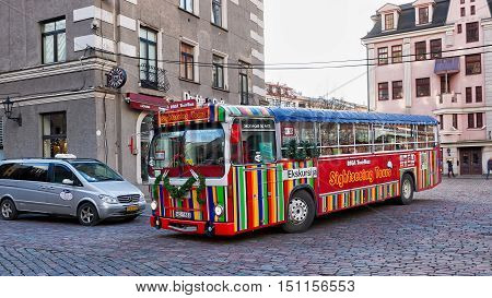 Excursion Touristic Bus In The Old Town In Riga