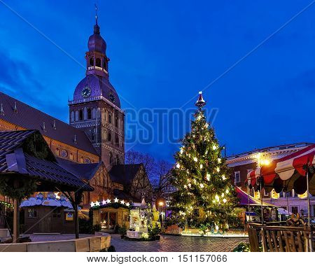 Glowing Christmas Tree At The Market Near Riga Cathedral