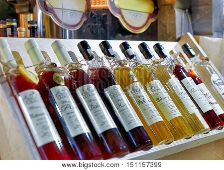 Latvian Wine And Liquor Displayed At Riga Christmas Market