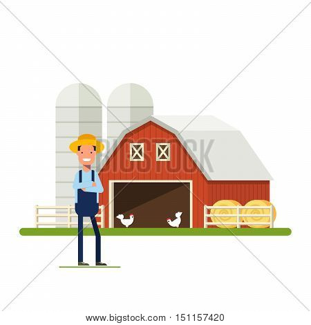 Flat Happy Farmer standing next to a farm. Barn with chickens and hay. A man in a straw hat against the backdrop of agricultural buildings. Storage of grain. An employee in the garden or plantation