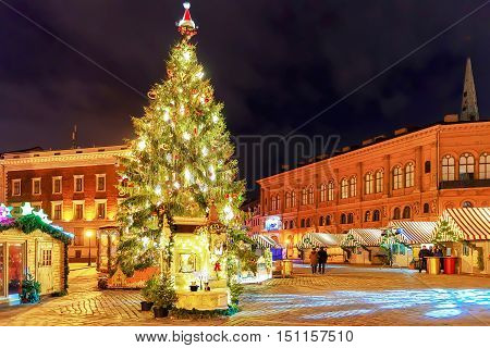 Luminous Christmas Tree At The Dome Square In Old Riga