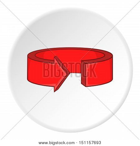 Red round arrow icon. cartoon illustration of red round arrow vector icon for web