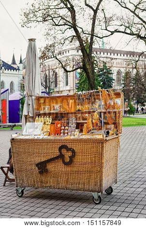 Small Kiosk With Souvenirs At The Riga Christmas Market