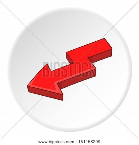 Red left arrow icon. cartoon illustration of red left arrow vector icon for web