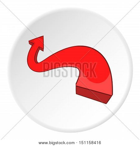 Red curved arrow icon. cartoon illustration of red curved arrow vector icon for web