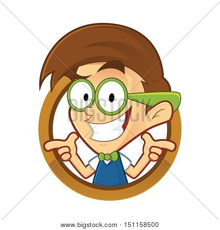Clipart picture of a nerd geek cartoon character with two gun finger gesture