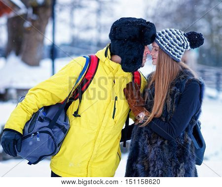 Young Girl And Fellow In Winter In Trakai Of Lithuania