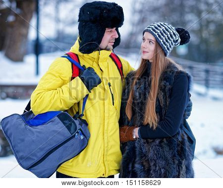 Young Girl And Fellow In Winter In Trakai