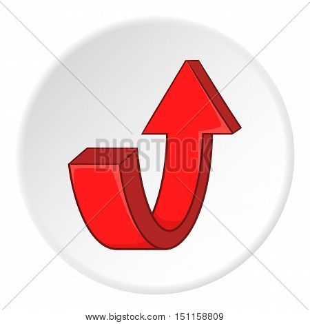Red curved arrow down icon. cartoon illustration of red curved arrow down vector icon for web