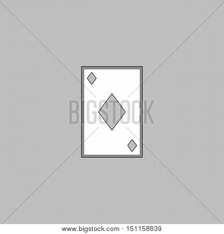 Diamonds card Simple line vector button. Thin line illustration icon. White outline symbol on grey background