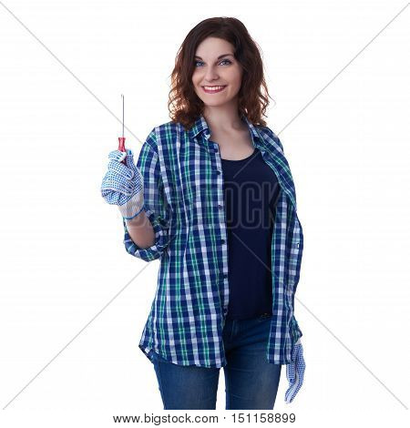 Smiling young woman in casual clothes over white isolated background holding screwdriver, happy people and construction concept