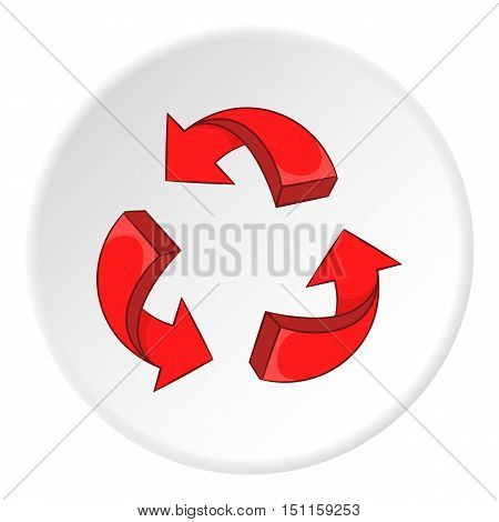 Red recycling symbol icon. cartoon illustration of red recycling symbol vector icon for web