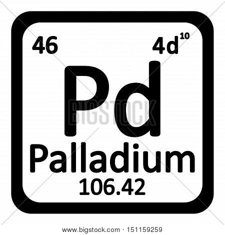 Periodic table element palladium icon on white background. Vector illustration.