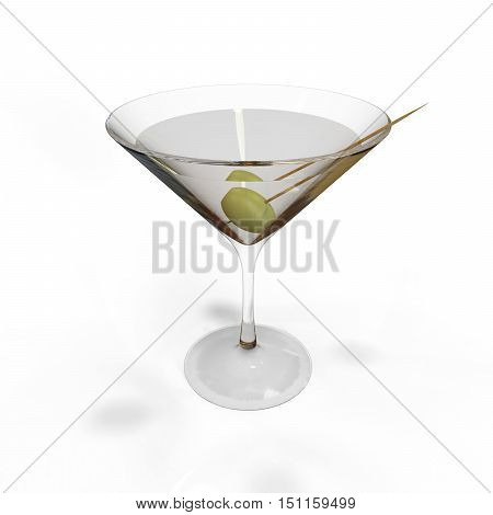 Martini Glass with Martini 3D render isolated on White