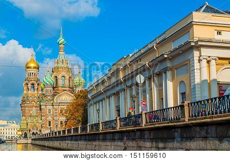 SAINT PETERSBURG RUSSIA-OCTOBER 3 2016. Cathedral of Our Savior on Spilled Blood and building of the State Russian Museum in Saint Petersburg Russia