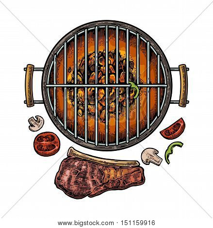 Barbecue grill top view with charcoal, mushroom, tomato, pepper and beef steak. Vintage color vector engraving illustration. Isolated on white background.