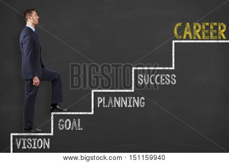 Business Man Career Stairs Concept on Chalkboard