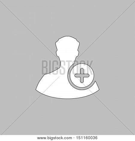 Add user Simple line vector button. Thin line illustration icon. White outline symbol on grey background