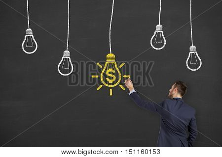 Drawing Finance Idea Concept on Blackboard Background