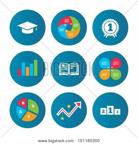 Business pie chart. Growth curve. Presentation buttons. Graduation icons. Graduation student cap sign. Education book symbol. First place award. Winners podium. Data analysis. Vector