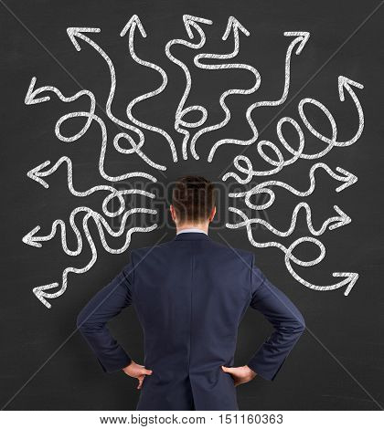 Businessman thinking a solution on Chalkboard Background