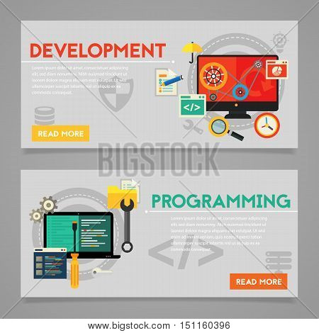 Programming and coding, scripting, graphic and webdesign, website development concepts. Horizontal banners