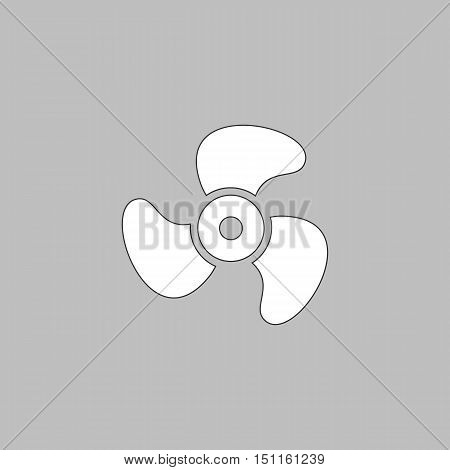 Propeller Simple line vector button. Thin line illustration icon. White outline symbol on grey background