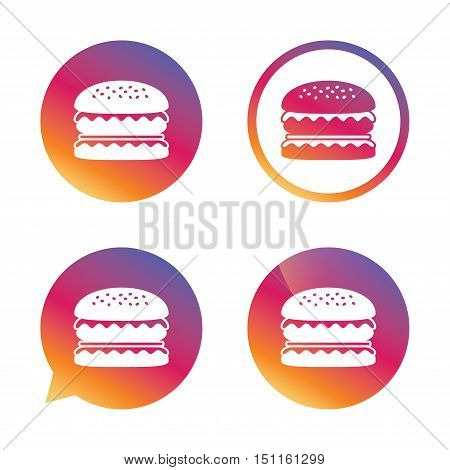 Hamburger icon. Burger food symbol. Cheeseburger sandwich sign. Gradient buttons with flat icon. Speech bubble sign. Vector