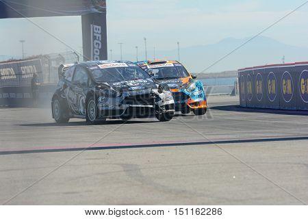 Patrik Sandell 18 And Austin Dyne 14, Battle For Position During The Red Bull Global Rallycross