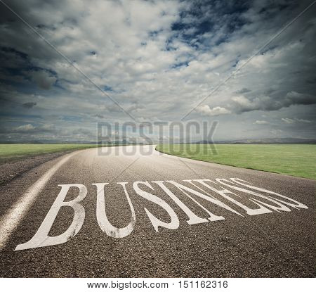 Road with written business on asphalt. Concept of way of the success