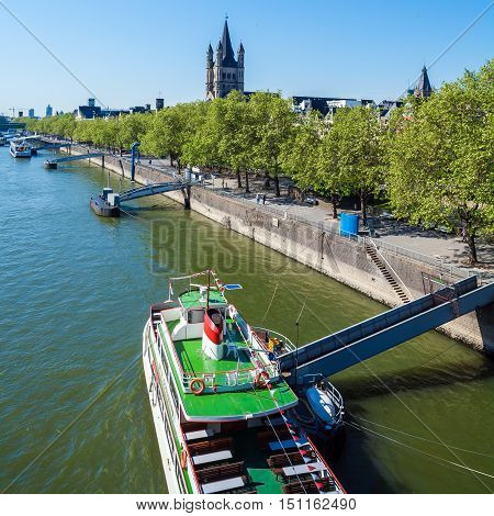 View From Hohenzollern-brucke On Rhein, Cologne, Germany