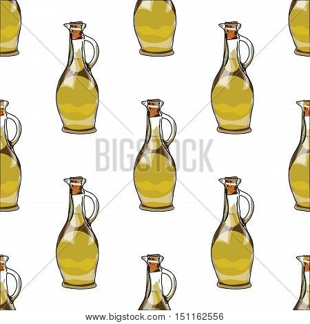 Illustration For The Book. Seamless Pattern. Jars With Olive Oil. Postcard With Food. Gastro Postcar