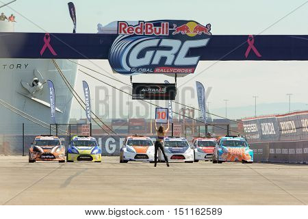 Grid Girl And Cars On Starting Line, During The Red Bull Global Rallycross