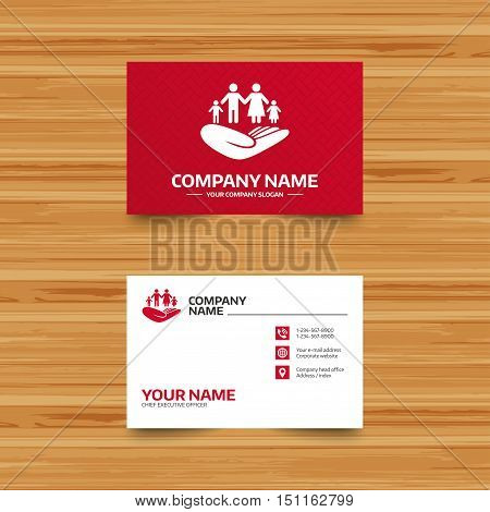 Business card template. Family life insurance sign. Hand holds human group symbol. Health insurance. Phone, globe and pointer icons. Visiting card design. Vector