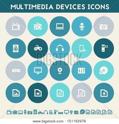 Modern flat design multicolored multimedia icons collection