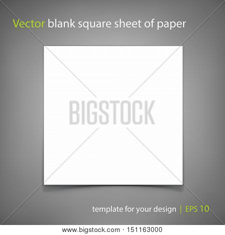 Vector blank of square sheet of paper on grey background. Template for your design. Grayscale Mockup