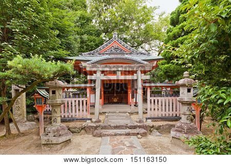 KYOTO JAPAN - JULY 25 2016: Inari Shinto Shrine on the grounds of Sanjusangen-do Buddhist Temple in Kyoto. Inari is Japanese deity of foxes of fertility of general prosperity and worldly success